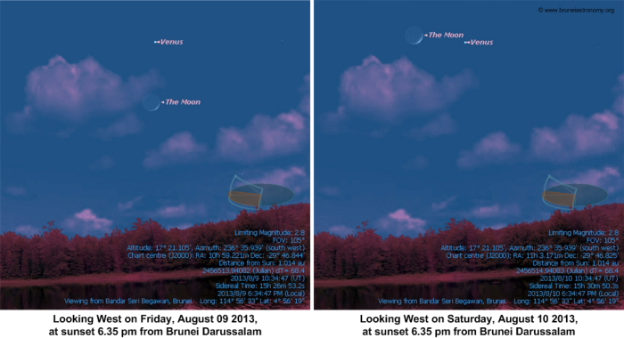 Close Pairing of Moon and Venus on August 09 and 10, 2013
