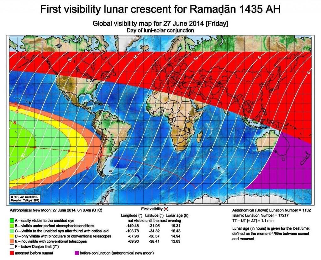 New moon Ramadan 1435H visibility curve