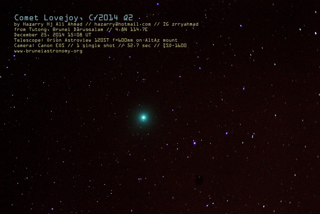 Comet Lovejoy C2014 from Brunei on Dec 25 2014 - Hazarry bin Haji Ali Ahmad