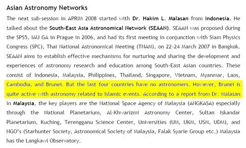 A report summary on Education and Popularisation of Astronomy Session in 10th Asia Pacific Regional IAU Meeting (APRIM). Brunei was reported having no Astronomers.