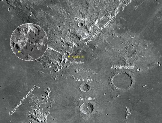 James Irwin and David Scott spent three days alongside Hadley Rille in the rugged Apennine Mountains after landing Apollo 15 on July 30, 1971. This was the first mission to use the Lunar Rover, greatly expanding the amount of ground the astronauts could cover. NASA / LRO