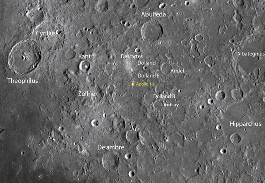 Apollo 16 touched down in the lunar highlands on April 21, 1972, in the Cayley Formation, where astronauts John Young and Charles Duke hoped to find older Moon rocks than those previously found near the younger maria. NASA / LRO