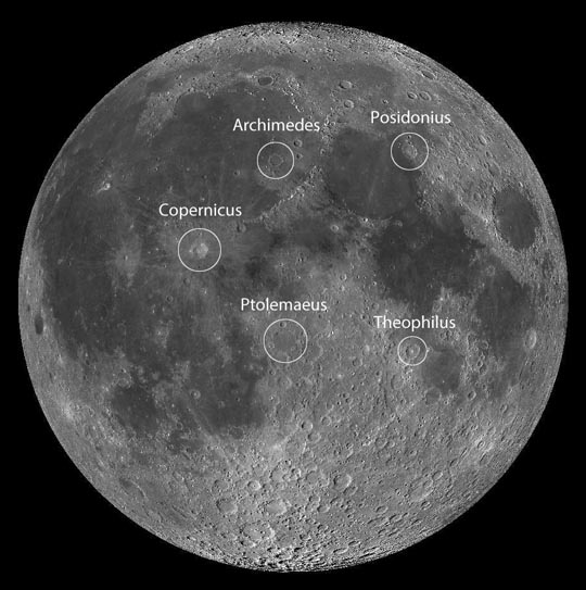 All the landing sites can be found using these five prominent lunar craters. North is up in this view.Credit: NASA/LRO