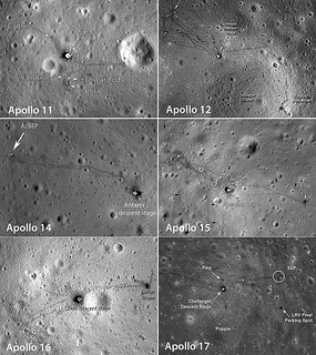 Photos of each of the six Apollo landing sites photographed from low orbit by NASA's Lunar Reconnaissance Orbiter. ALSEP stands for Apollo Lunar Surface Experiments Package. The astronauts' tracks as well as the rover and other items are plainly visible. Click for a large version. NASA / LRO