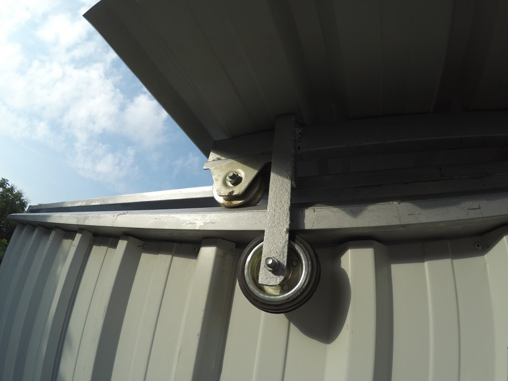 A customised observatory showing the roll off roof wheels