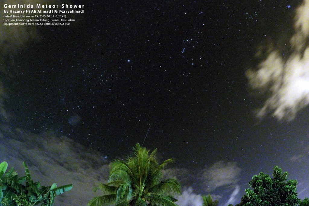 Geminid Meteor Shower with GoPro Hero 4