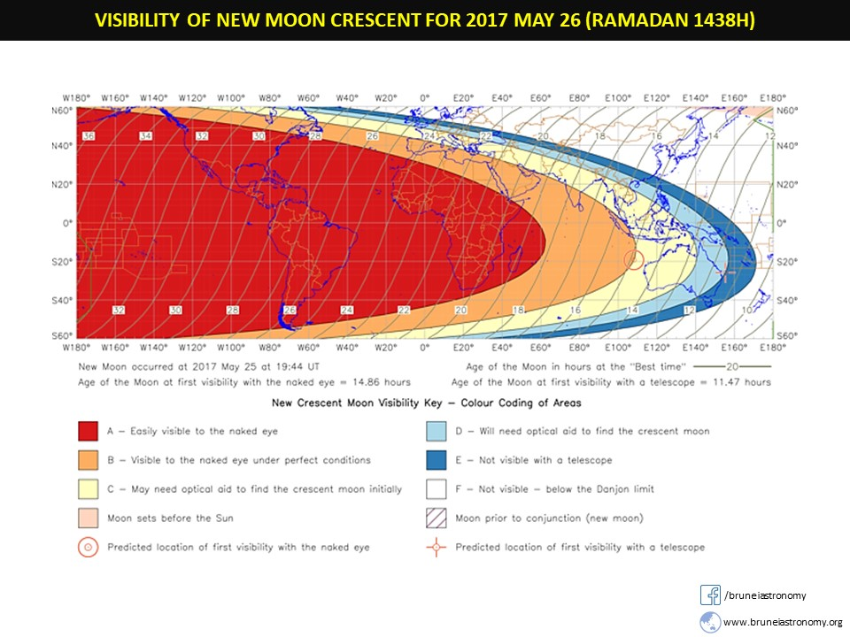 VISIBILITY OF NEW MOON CRESCENT ON 2017 MAY 26 (RAMADAN 1438H)