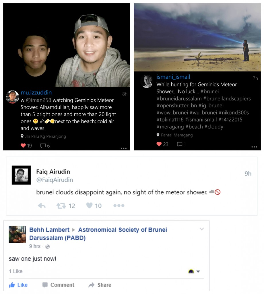 Reports by meteor observers in Brunei